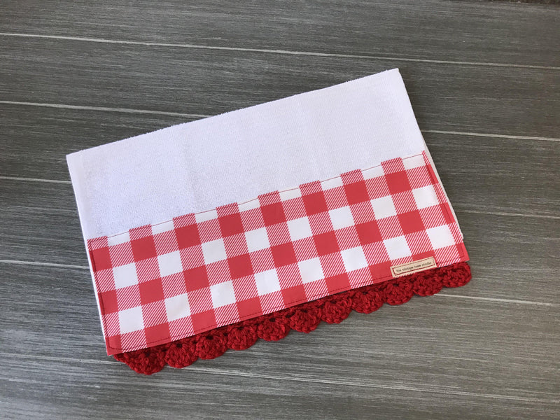 Holiday Farmhouse Buffalo Check in Red Crochet Kitchen Bar Mop Towel