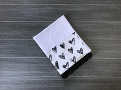 Classic Black and White Hearts Crochet Kitchen Bar Mop Towel
