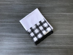Black Watercolor Farmhouse Buffalo Check Crochet Kitchen Bar Mop Towel
