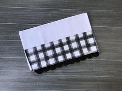 Farmhouse Black Watercolor Buffalo Check Crochet Kitchen Bar Mop Towel