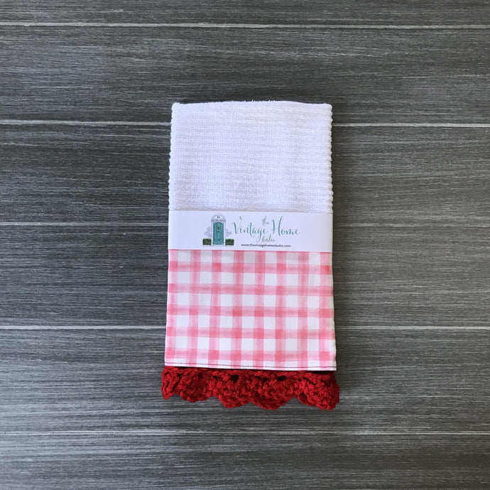 Red Watercolor Farmhouse Buffalo Check Crochet Kitchen Bar Mop Towel - The Vintage Home Studio