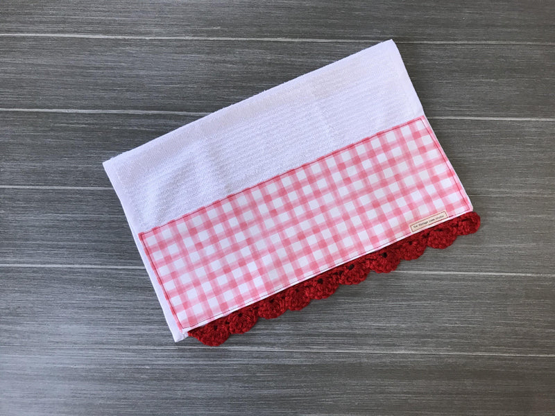 Red Watercolor Farmhouse Buffalo Check Crochet Kitchen Bar Mop Towel