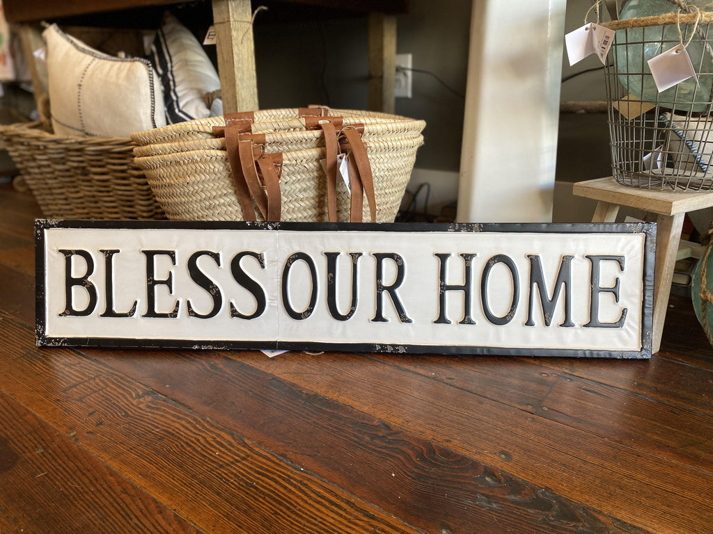 Bless Our Home Tin Sign - The Vintage Home Studio