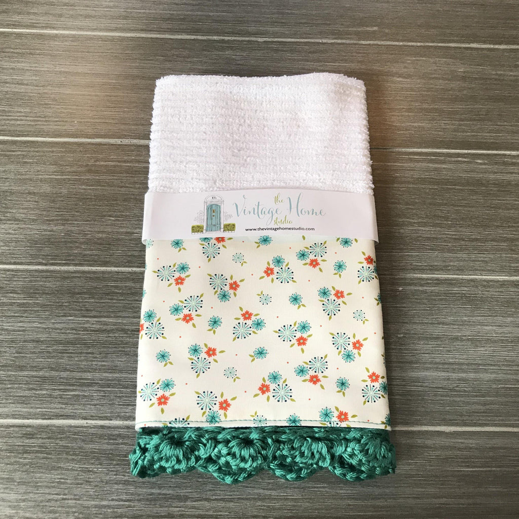 Tiny Flowers Crochet Kitchen Bar Mop Towel - The Vintage Home Studio