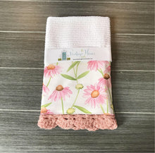 Load image into Gallery viewer, Pink Daisies Crochet Kitchen Bar Mop Towel - The Vintage Home Studio