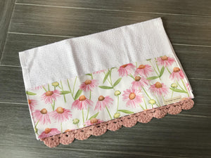 Pink Daisies Crochet Kitchen Bar Mop Towel - The Vintage Home Studio