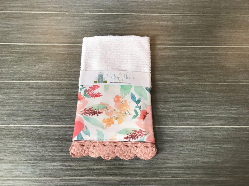 Spring Watercolor Floral Crochet Kitchen Bar Mop Towel