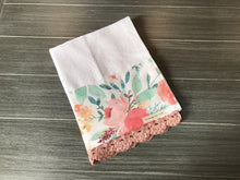 Load image into Gallery viewer, Spring Watercolor Floral Crochet Kitchen Bar Mop Towel