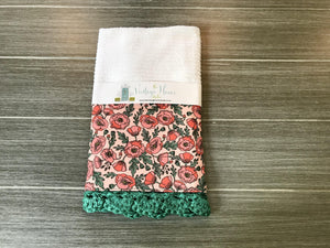 Coral Peonies Rifle Paper Company Crochet Kitchen Bar Mop Towel - The Vintage Home Studio