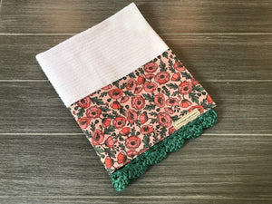 Coral Peonies Rifle Paper Company Crochet Kitchen Bar Mop Towel