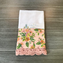 Load image into Gallery viewer, Paris Print in Pink Rifle Paper Company Crochet Kitchen Bar Mop Towel