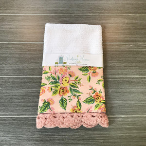 Paris Print in Pink Rifle Paper Company Crochet Kitchen Bar Mop Towel