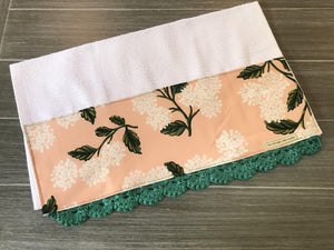 Peach Hydrangeas Rifle Paper Company Crochet Kitchen Bar Mop Towel - The Vintage Home Studio