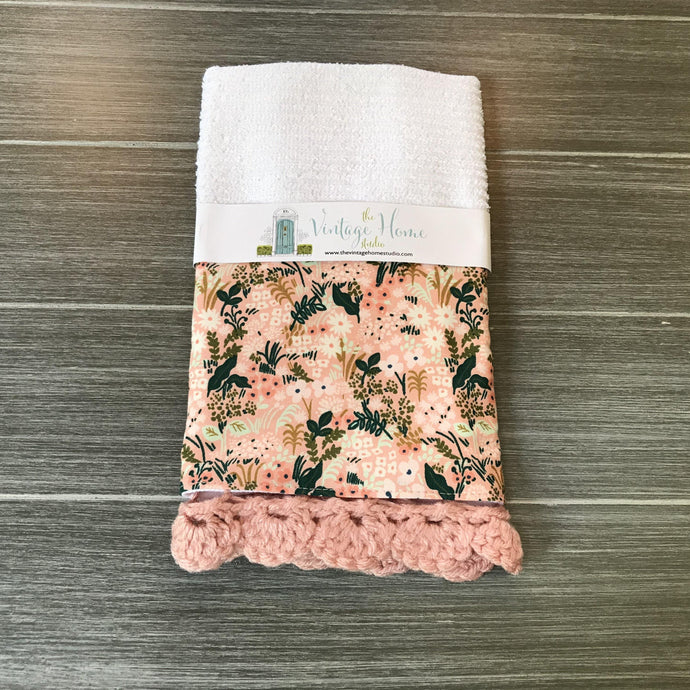 Pink Meadow Rifle Paper Company Crochet Kitchen Bar Mop Towel - The Vintage Home Studio
