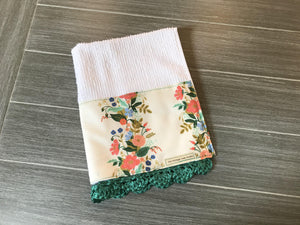 English Garden Rifle Paper Company Crochet Kitchen Bar Mop Towel - The Vintage Home Studio