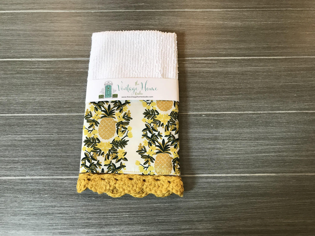 Pineapple Stripe in Cream Rifle Paper Company Crochet Kitchen Bar Mop Towel