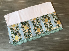 Load image into Gallery viewer, Pineapple Stripe in Shabby Blue Rifle Paper Company Crochet Kitchen Bar Mop Towel
