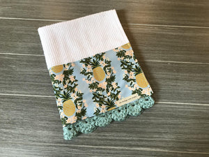 Pineapple Stripe in Shabby Blue Rifle Paper Company Crochet Kitchen Bar Mop Towel