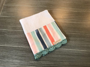 Coastal Stripe Crochet Kitchen Bar Mop Towel