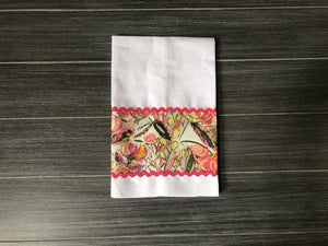 Painted Desert Morning in Blush on White Linen Guest Towel