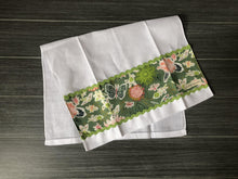 Load image into Gallery viewer, Small World Sprightly on White Linen Guest Towel