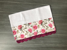 Load image into Gallery viewer, Raspberry Peonies Crochet Kitchen Bar Mop Towel