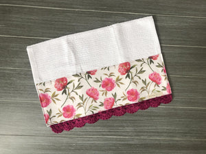 Raspberry Peonies Crochet Kitchen Bar Mop Towel