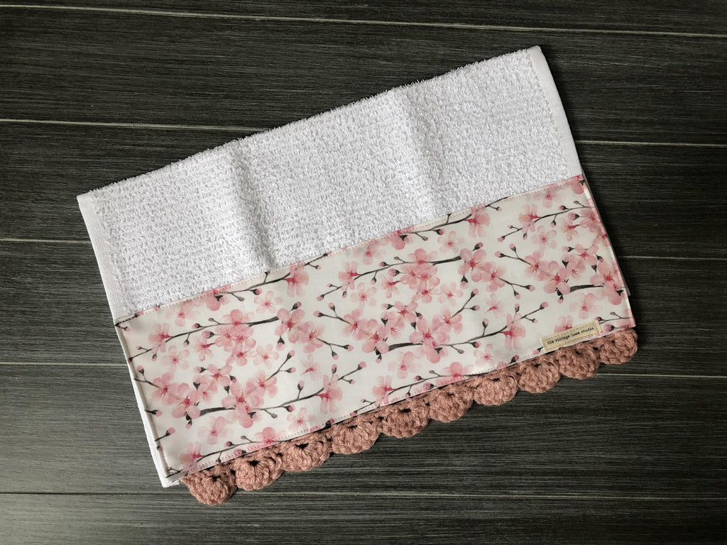 Cherry Blossom Crochet Kitchen Bar Mop Towel - The Vintage Home Studio