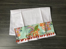 Load image into Gallery viewer, Aqua Bouquet and Poms on White Linen Towel