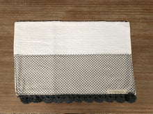 Load image into Gallery viewer, RETIRING Petits Checks in Ash Crochet Kitchen Bar Mop Towel