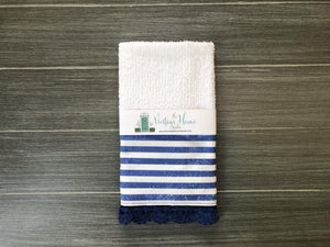Navy Stripes Crochet Kitchen Bar Mop Towel