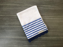 Load image into Gallery viewer, Navy Stripes Crochet Kitchen Bar Mop Towel