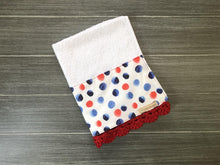 Load image into Gallery viewer, Red and Blue Polka Dots Crochet Kitchen Bar Mop Towel