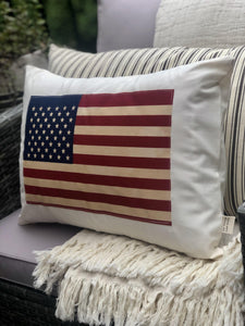 Vintage Inspired American Flag Pillow (Cover Only)