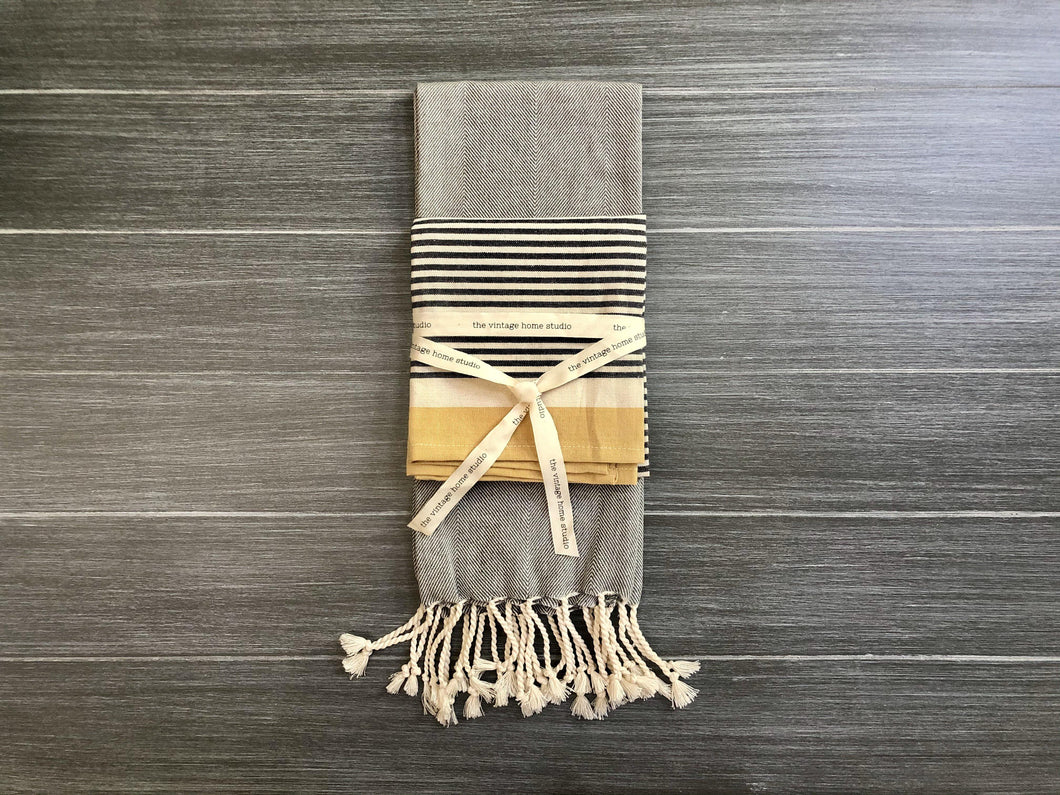 Fringe and Stripe Tea Towel Set
