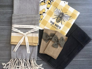 Striped Ribbon Jute Silverware Pouches - The Vintage Home Studio