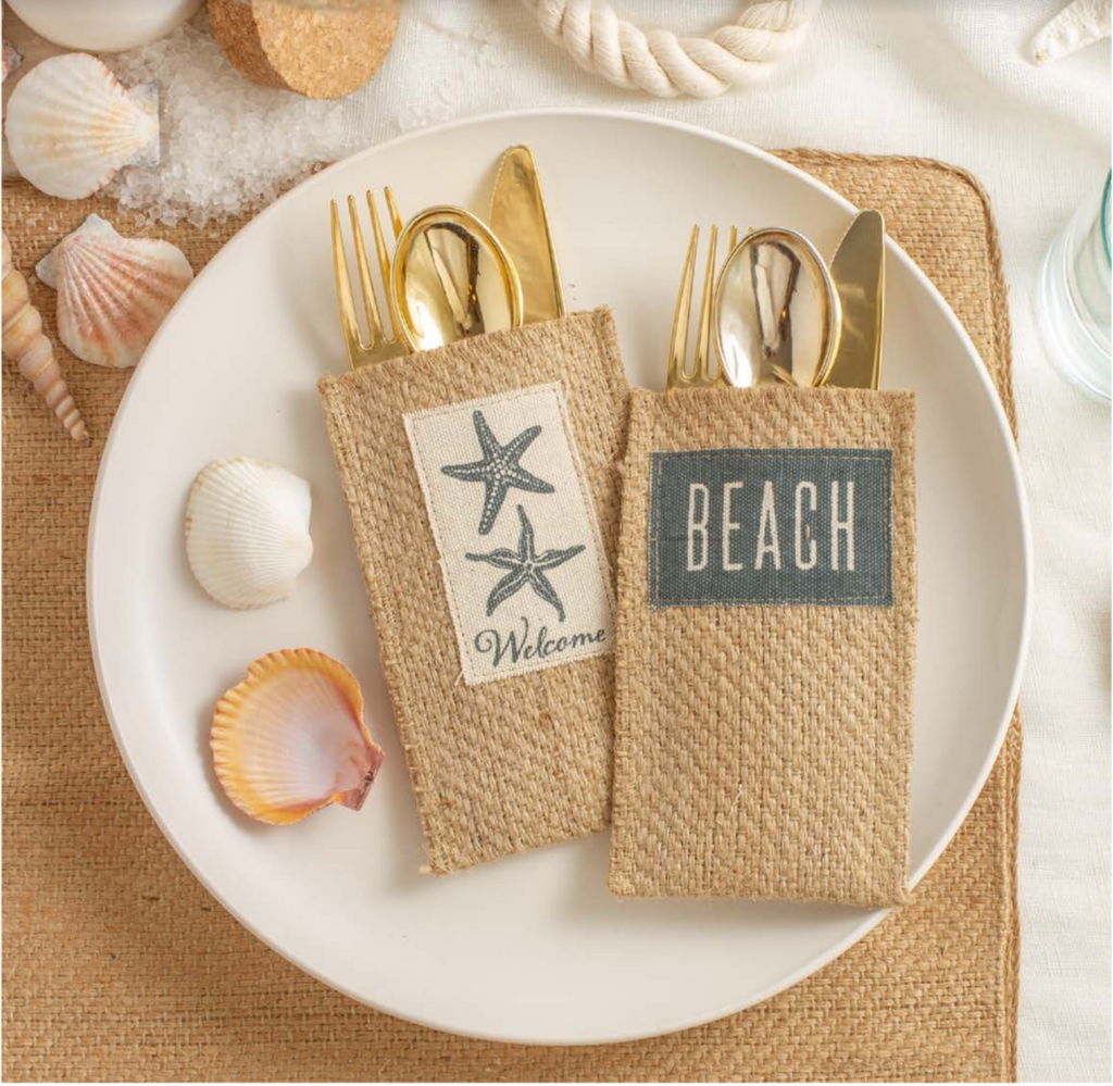 Starfish Jute Silverware Pouches - The Vintage Home Studio