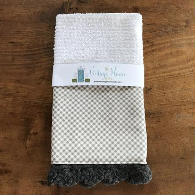 Petits Checks in Ash Crochet Kitchen Bar Mop Towel