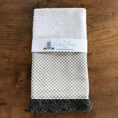RETIRING Petits Checks in Ash Crochet Kitchen Bar Mop Towel