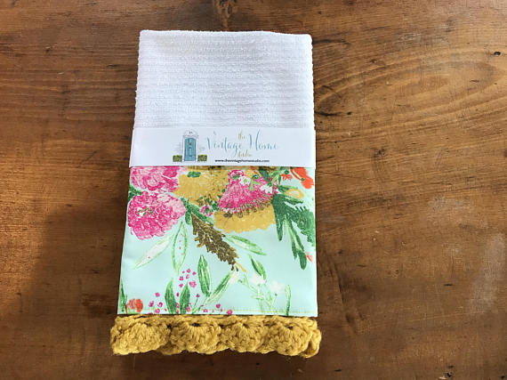 Summer Bouquet Clear Crochet Kitchen Bar Mop Towel