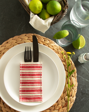 Load image into Gallery viewer, Red Striped Cotton Silverware Pouches