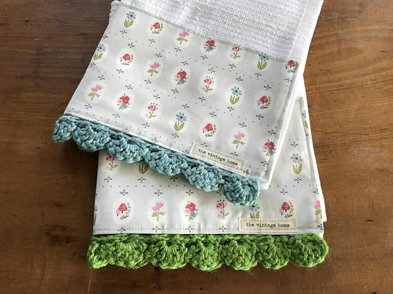 RETIRING Prairie Dot Fresh Crochet Kitchen Bar Mop Towel