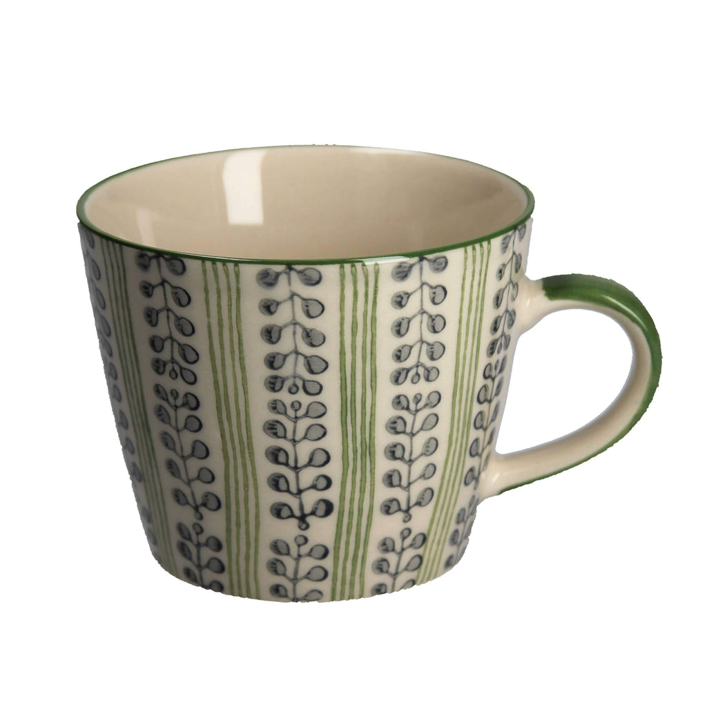 Green Stripe Berry Ceramic Mug - The Vintage Home Studio