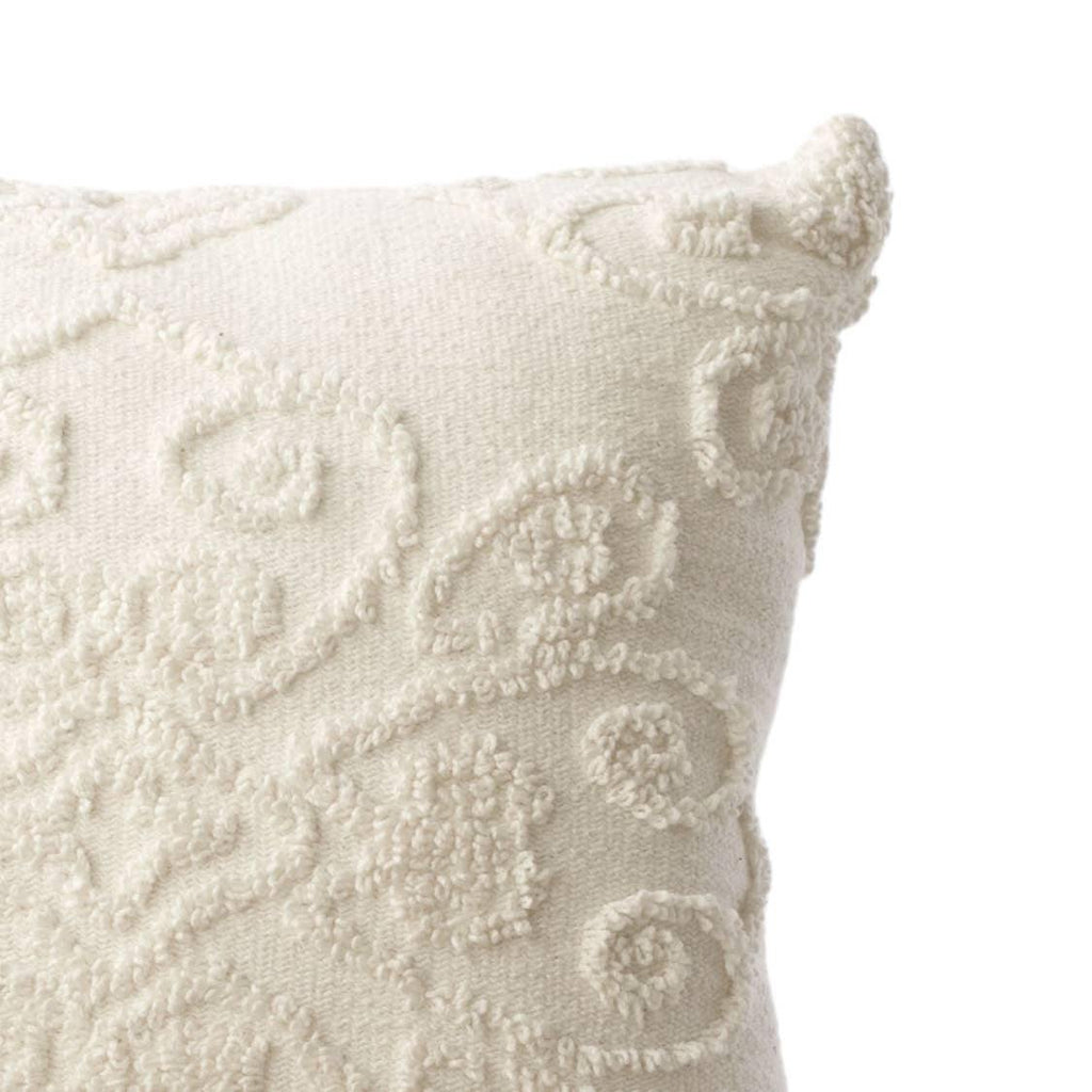 Damask Tufted Cotton Pillow - The Vintage Home Studio