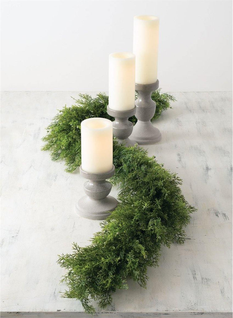 Grey Pillar Candle Holders (Set of 3) - The Vintage Home Studio