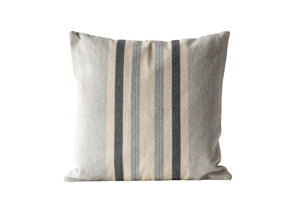 Grey Striped Pillow - The Vintage Home Studio