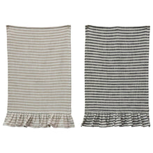 Load image into Gallery viewer, Striped Ruffle Tea Towels