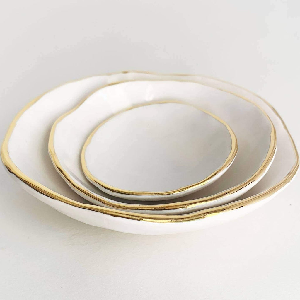 Gold Edge Pinch Pot Nesting Bowls - The Vintage Home Studio