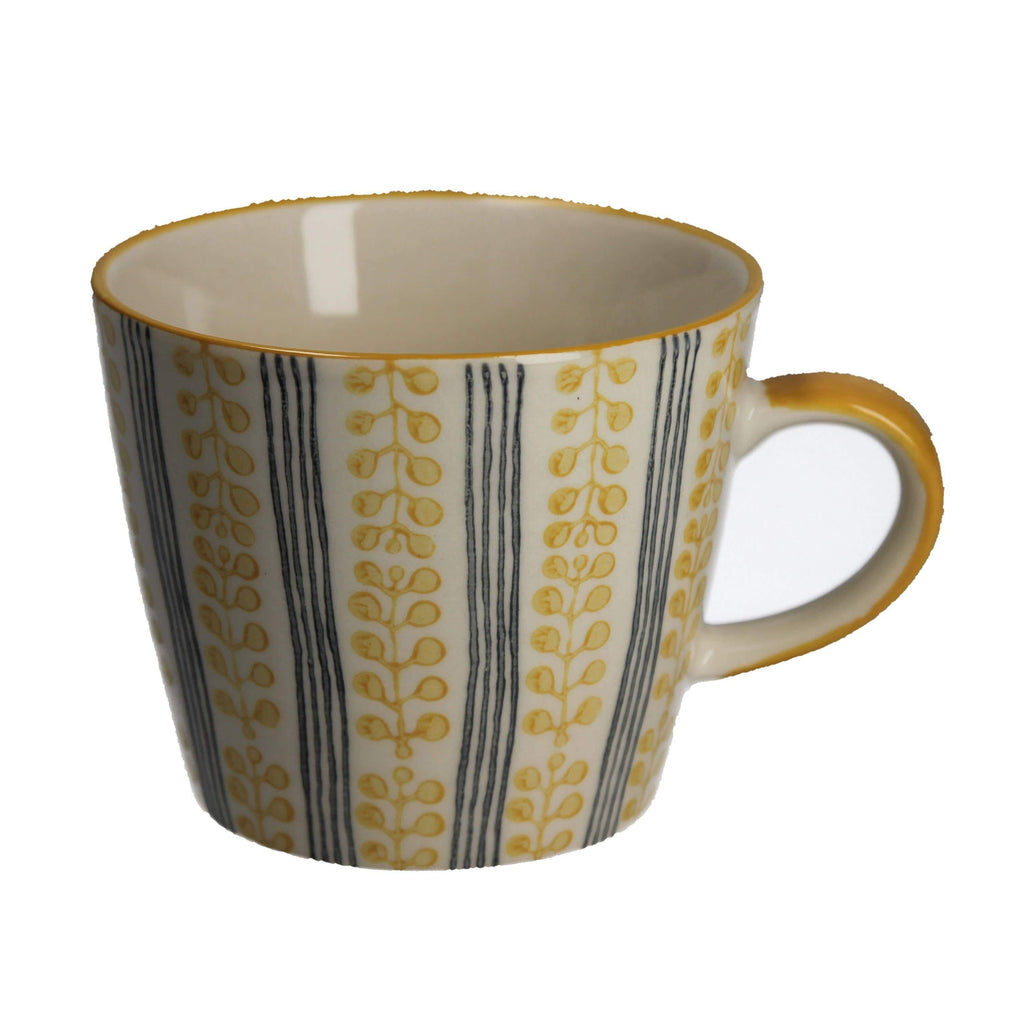 Mustard Berry Stripe Ceramic Mug - The Vintage Home Studio
