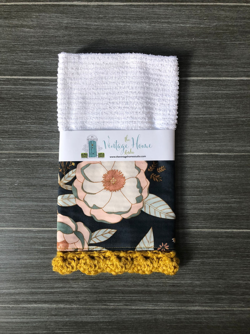 RETIRING Sprinkled Peonies Crochet Kitchen Bar Mop Towel